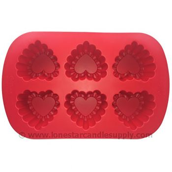 Silicone Ruffled Heart Mold - 6 count