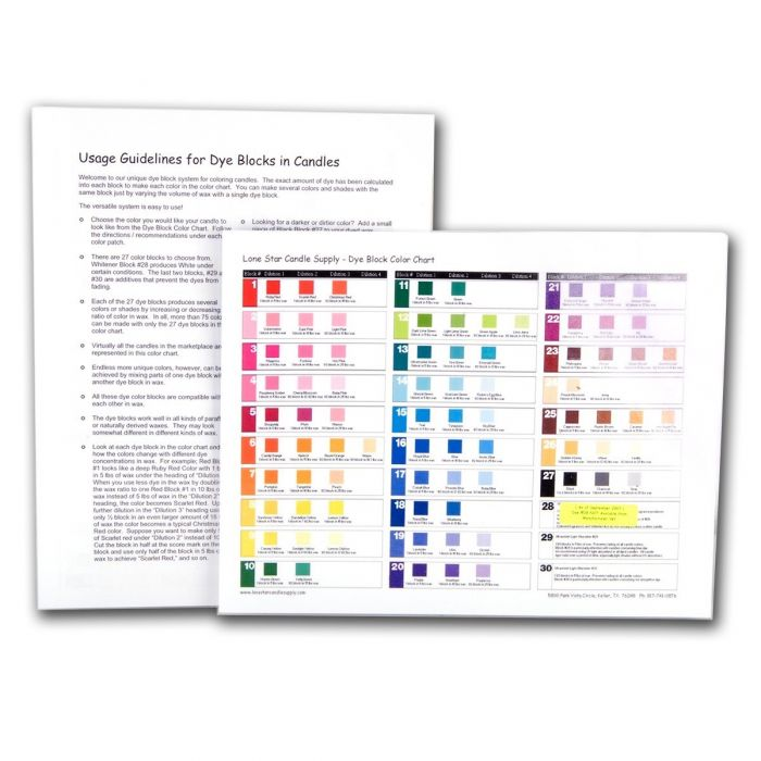Dye Block Color Chart Candle Dyes